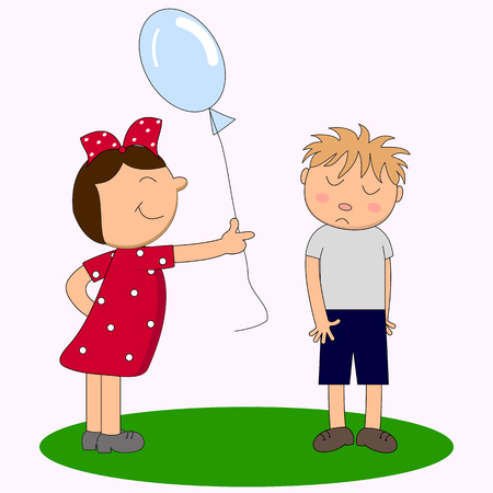A girl with a balloon and a shy boy. Illustration