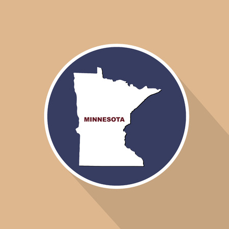 Map of the U.S. state of Minnesota on a blue background. State name Illustration
