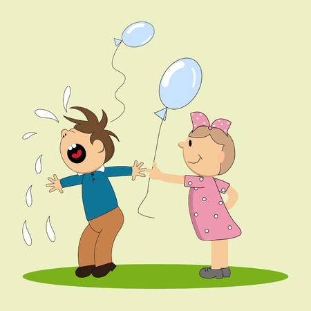 Loudly yelling boy and girl with a ball  イラスト・ベクター素材