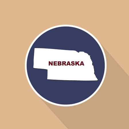 Map of the U.S. state of Nebraska on a blue background. State name