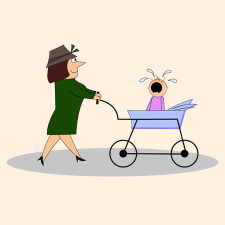 Mom with a crying child in a stroller Illustration