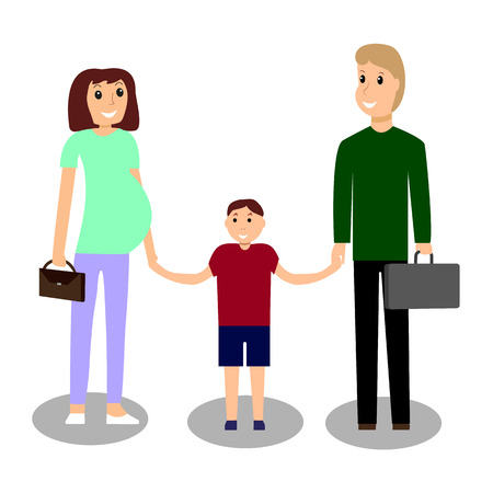 Mom and dad with the child. Vector illustration
