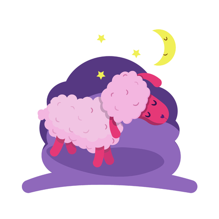 Sleeping sheep. Vector illustration for your design