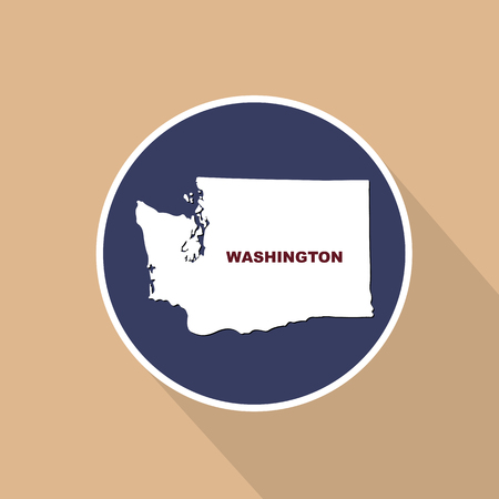 Map of the U.S. state of Washington on a blue background. State name