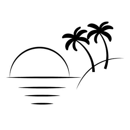Silhouette of palm trees on the island. Vector illustration isolated white background. Ilustração