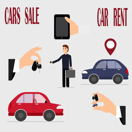 Colorful vector illustration on the theme of renting and selling cars. Hand, keys, cars and stuff.