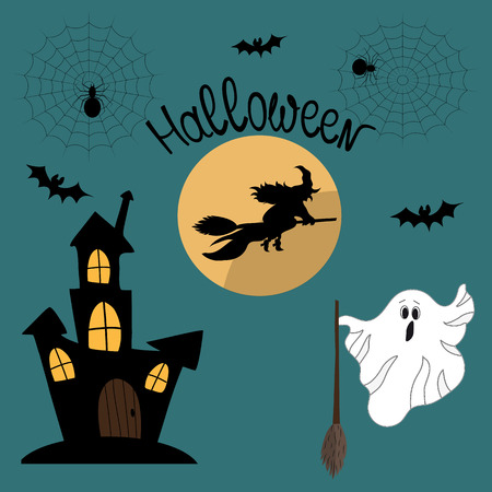 Cute vector set with illustrations and Halloween icons