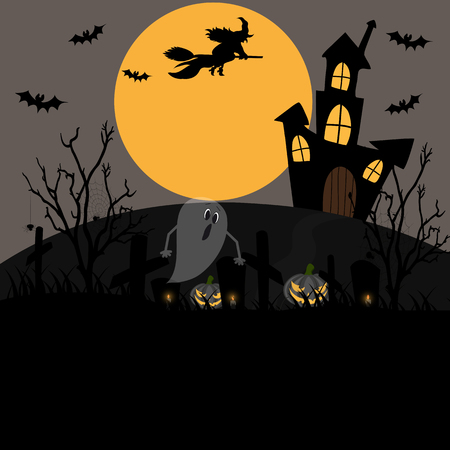 Halloween background with full moonlight and creepy cemetery.