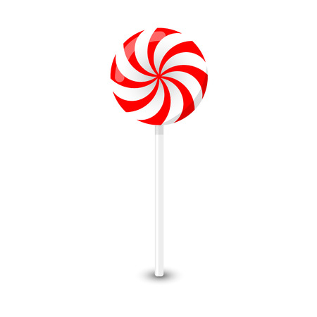 Vector red and white round lollipop on a white background