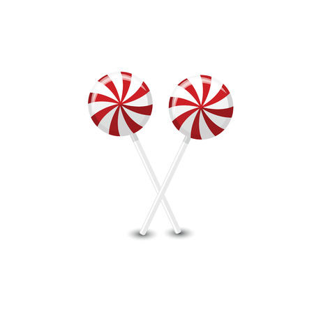 Vector red and white round lollipops on a white background. Ilustração