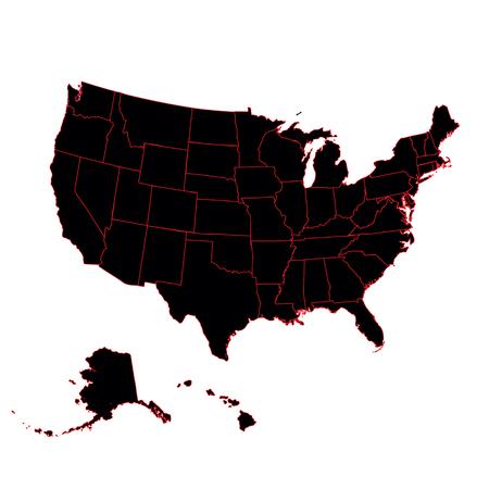 Mapa detallado del continente americano y EE. UU., Incluido Ala Ilustración de vector