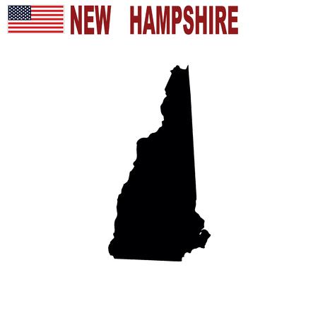 Mappa dello stato americano del New Hampshire su sfondo bianco