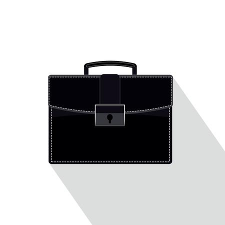 Black and white briefcase icon. Фото со стока