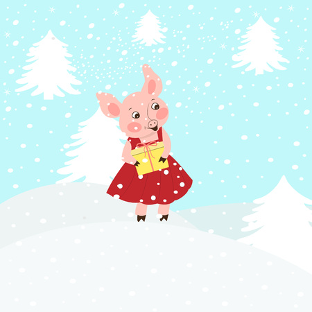 illustration of a cute pink cartoon piglet in a Santa Claus hat carries presents. Isolated snowy background.