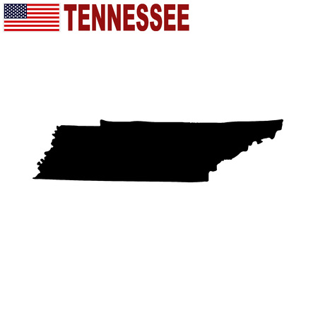 Map of the U.S. state of Tennessee on a white background Illustration