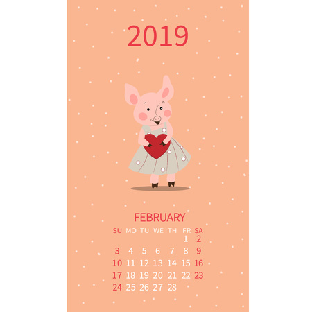 Annual calendar with pigs. Monthly illustration. Piglet with heart February. Valentines Day. Vector poster, cute flyer, wall banner, planner.