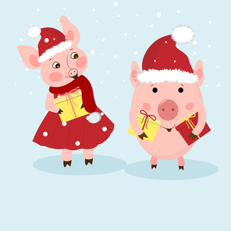 New Year card. A couple of funny piglets congratulates on a holiday. Pigs in Santas hats, dress, scarf. Vector illustration in cartoon style. Çizim