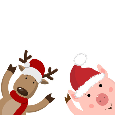 Merry Christmas greeting card with deer, piglet year pig. Cute animal holiday cartoon character .