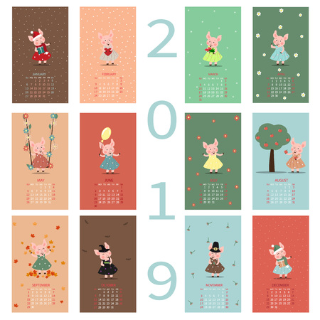 Monthly Creative Calendar 2019 with a cute pig. Symbol of the year in the Chinese calendar. Cartoon Isolated Vector illustration. Year of the pig