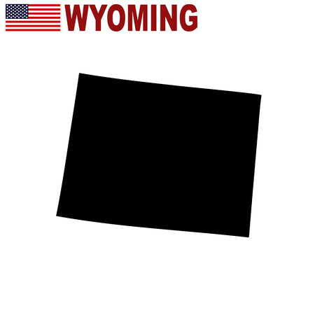 U.S. state on the U.S. map Wyoming on a white background