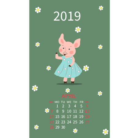 Calendar for April 2019 new year with a cheerful picture with the symbol of the year cute pig