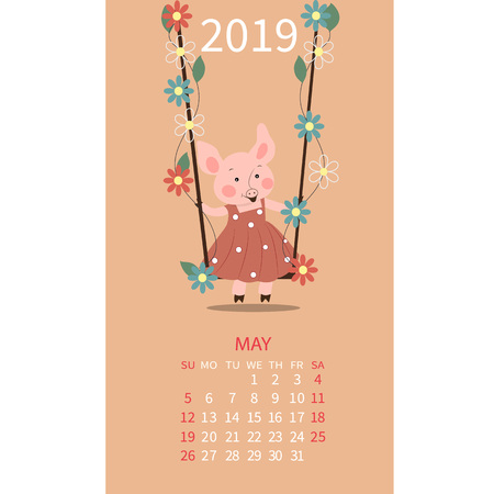 Pig calendar for May 2019. Cute month calendar with horoscope sign Taurus, Gemini. The week starts on Sunday. Vector illustration in cartoon style.