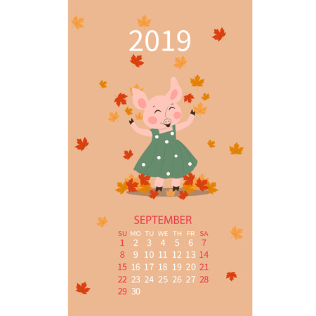 Pig calendar for 2019, calendar lettering, september 2019 template, hand drawn pig cartoon vector illustration Can be used for postcard, gift card, banner, poster, card