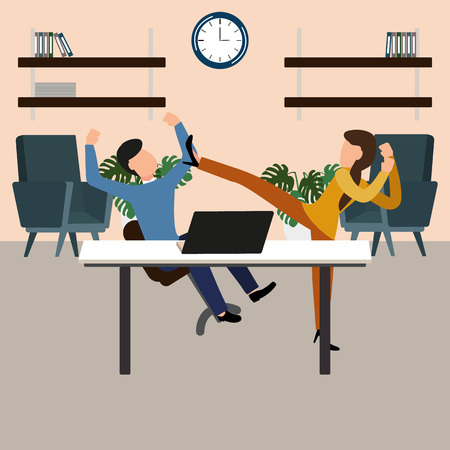Woman beats the boss at work, conflict. Gender inequality and the fight against stereotypes. Vector illustration