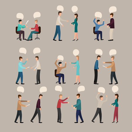 Arguing people, vector illustration, set with conflicting aggressive young men and women misunderstanding of challenging male and female characters. Speech bubbles Çizim