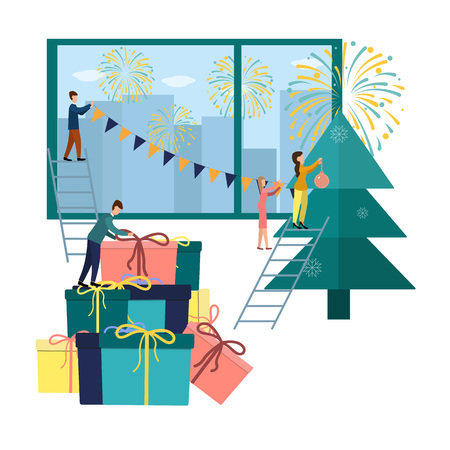 Vector illustration small people are preparing for the new year, are engaged in decoration, corporate in the office at work Çizim