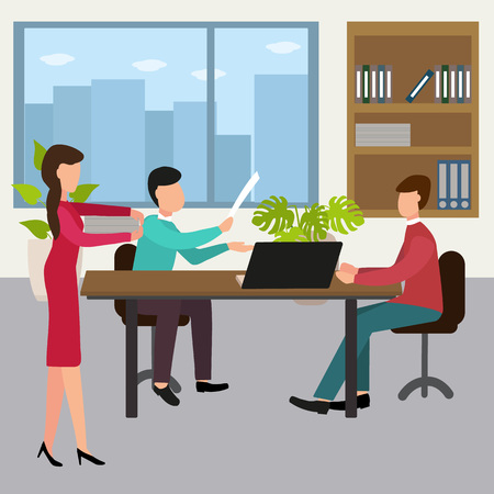 Office workers design concept set with business meeting. Vector Illustration.