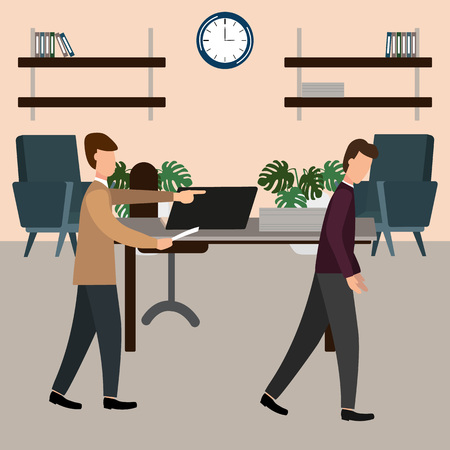 The boss screams at the subordinate in the office. Vector illustration, flat design style. Illustration