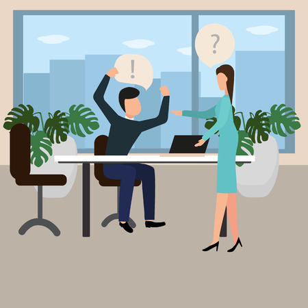 Conflict at work. A male boss berates an employee. Vector illustration in flat style.