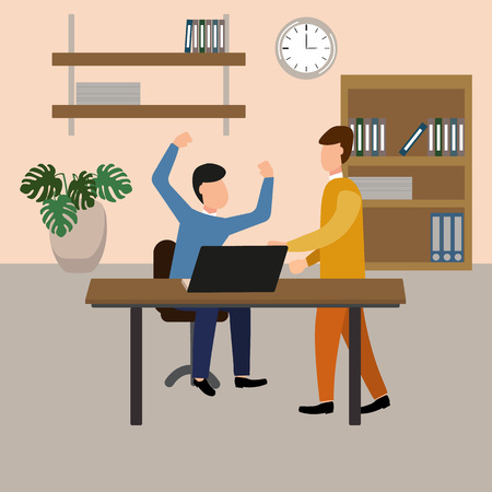 The boss screams at the subordinate in the office. Vector illustration, flat design style