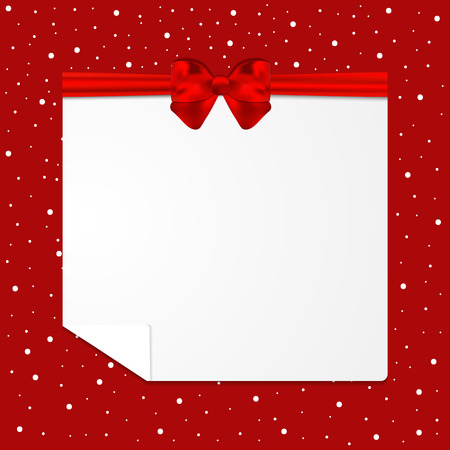 Festive card with red bow and snow. Vector illustration