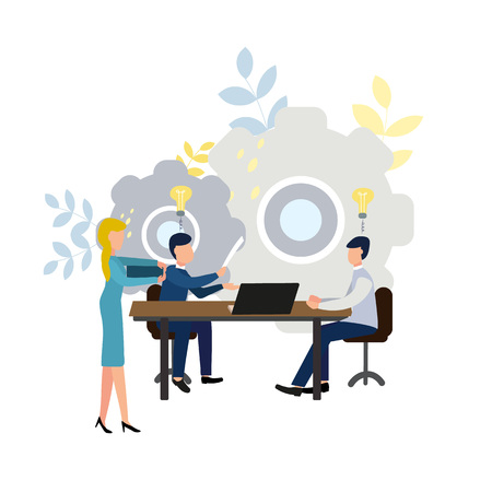 Teamwork in a company, brainstorming, vector illustration for your design.