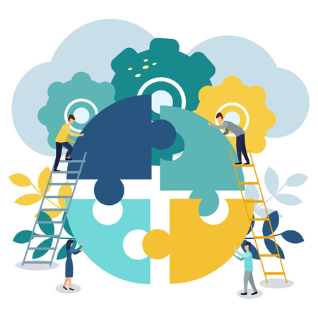 A group of businessmen involved in puzzle pieces, is to support the team, brainstorm or success, to find the perfect idea concept. Vector Illustratie