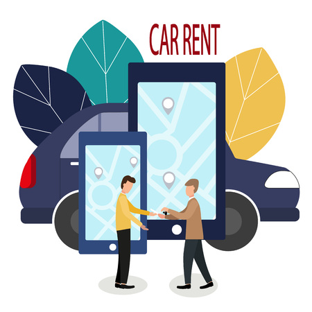 Man and car dealer. Making deals online. Car rent. Vector illustration in flat style. The dealer hands over the keys to the car and the contract