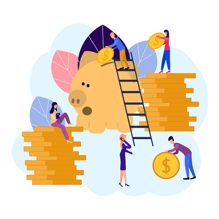 Vector flat illustrations, big piggy bank on white background, financial services, bankers do the work, hoard or save money Çizim