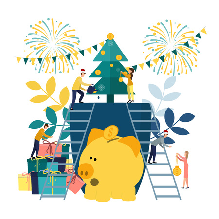 Vector flat illustrations, a big piggy bank on a white background, a Christmas tree with money, businessmen are preparing for the new year, hoarding or saving money