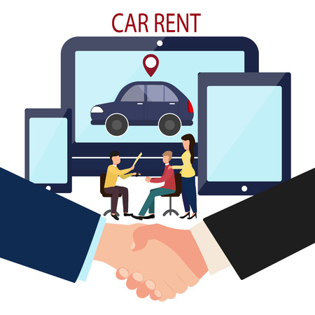 Man, woman and car dealer. Online deal making. Rent a car. Business handshake. Vector illustration in flat style of the dealer transfers the keys to the car and the contract Çizim