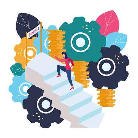 Vector illustration of business graphics, a woman runs the career ladder. Raising careers to success, flat icons