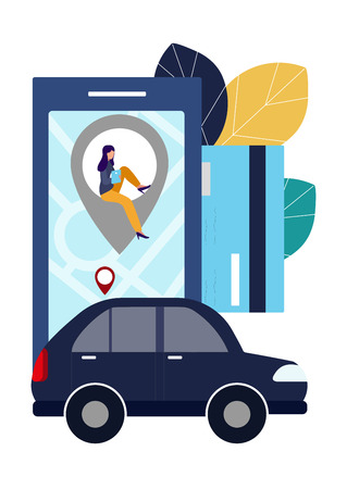 People and auto. Making deals online. Car rent. Vector illustration in flat style. 일러스트