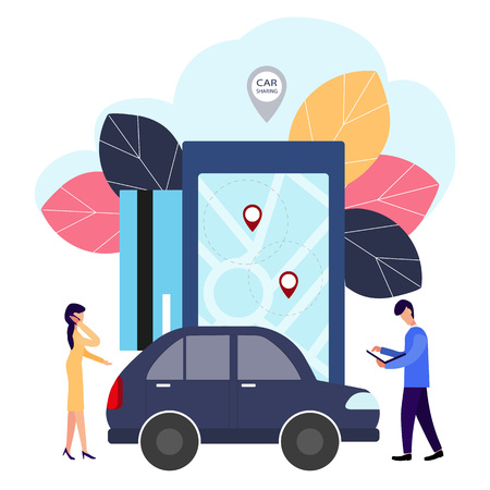 People and auto. Making deals online. Car rent. Vector illustration in flat style. Çizim