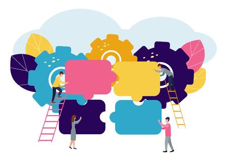 Un groupe d'hommes d'affaires impliqués dans des pièces de puzzle, doit soutenir l'équipe, le remue-méninges ou le succès, pour trouver le concept d'idée parfait