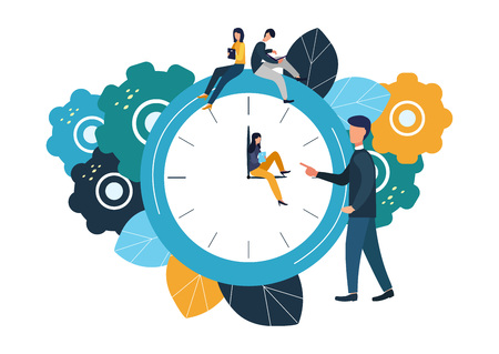 Vector illustration, round clock on white background, time management concept. 일러스트