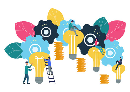 Vector illustration, the company is engaged in joint construction and the cultivation of cash profits, career growth to success, business analysis, flat style.