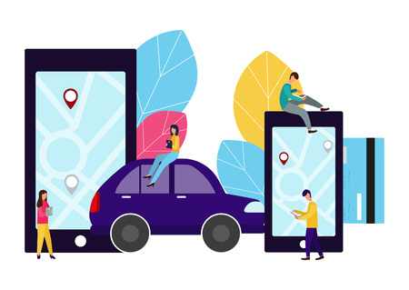 People and auto. Making deals online. Car rent. Vector illustration in flat style 일러스트