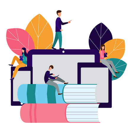 Vector creative illustration of distance learning, online learning, exam preparation, home schooling. 일러스트