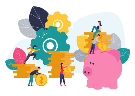 Vector flat illustrations, big piggy bank on white background, financial services, bankers do the work, hoard or save money. Ilustração